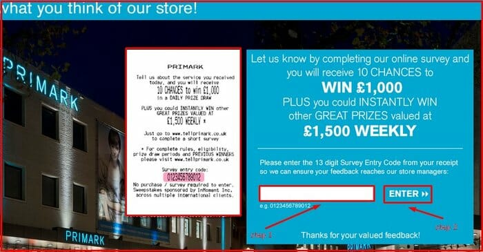 How to take survey and Win £1,000 at Primark